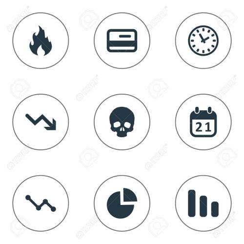 small resolution of vector vector illustration set of simple trouble icons elements circular diagram agenda clock and other synonyms skull reminder and blaze
