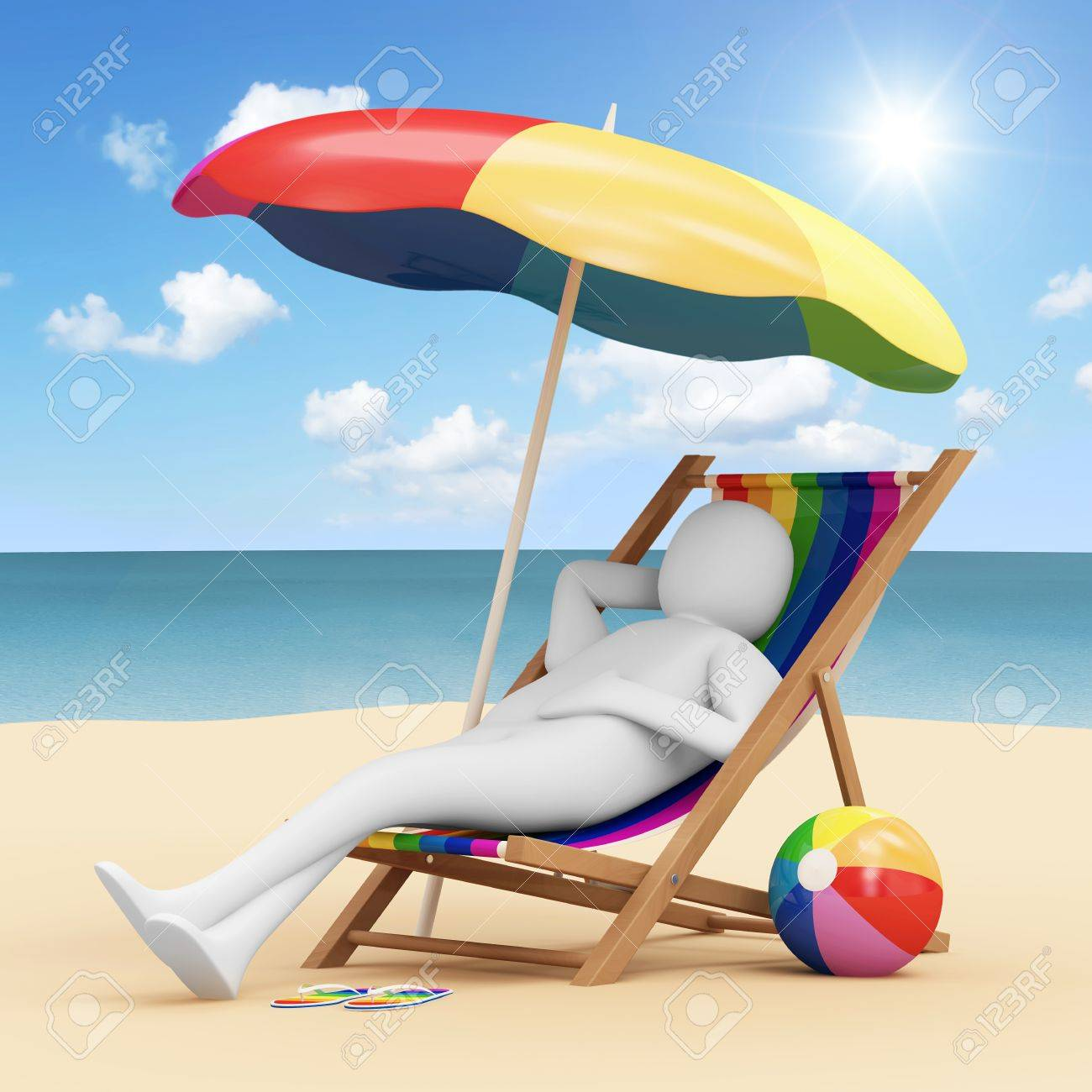 Chair With Umbrella 3d Man Lying On A Beach Chair With Umbrella And Different Accessories