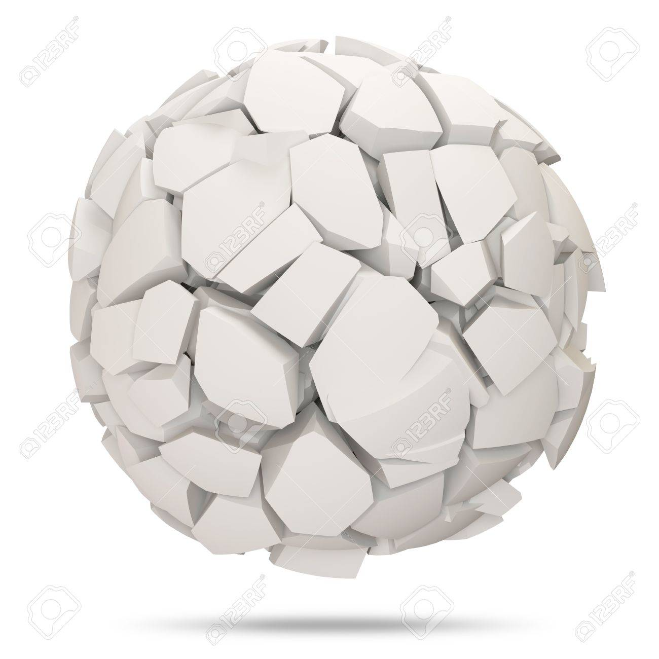 broken concrete sphere on