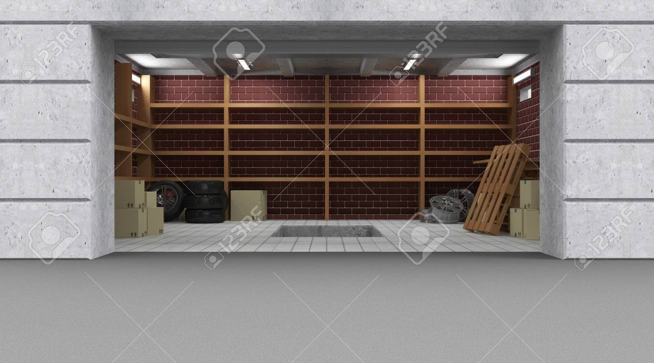 Vorderansicht Einer Garage 3D Interior Mit Geöffnetem Rolltor