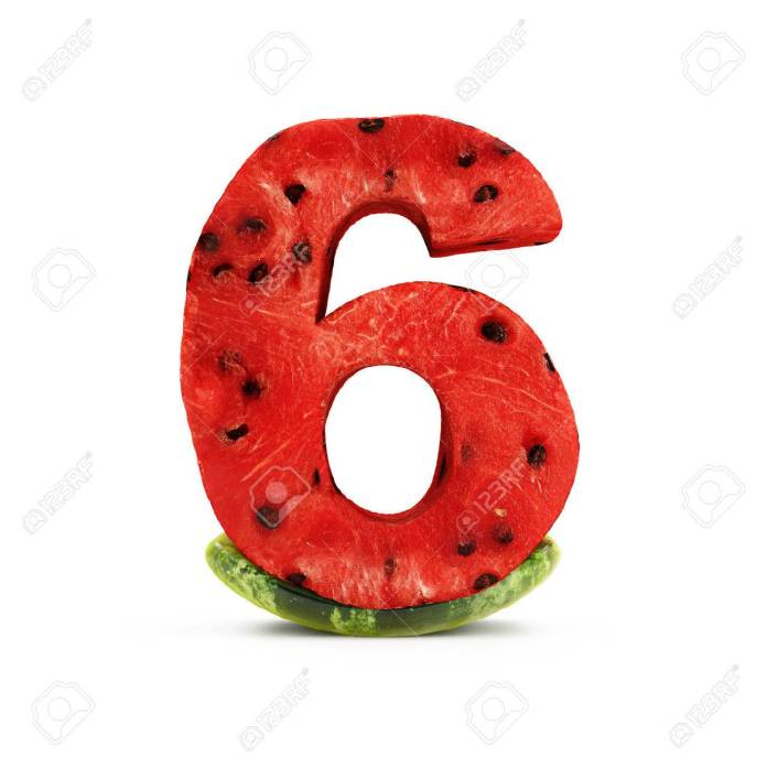 Watermelon Numbers Isolated On White Background (Number 6). 3D.. Stock  Photo, Picture And Royalty Free Image. Image 73643245.