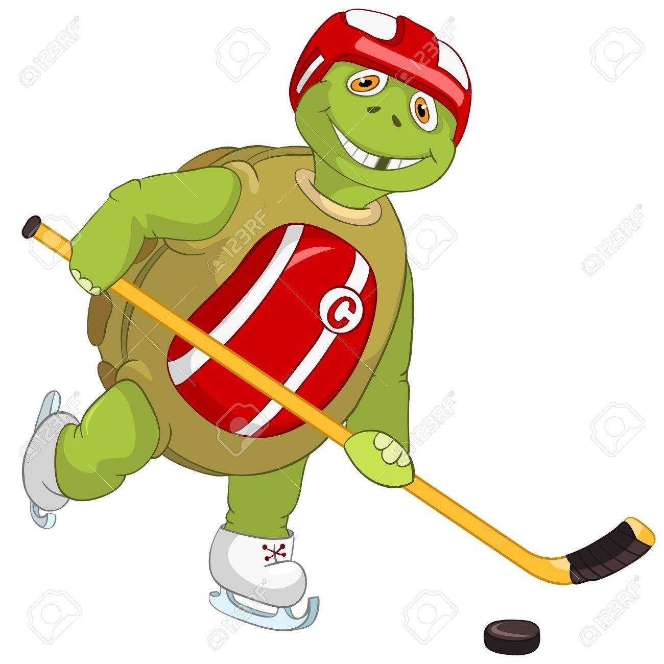 hight resolution of funny turtle hockey player stock vector 13533846