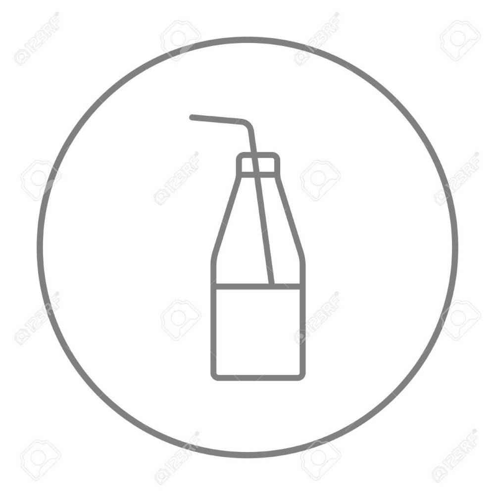 medium resolution of glass bottle with drinking straw line icon for web mobile and infographics vector grey