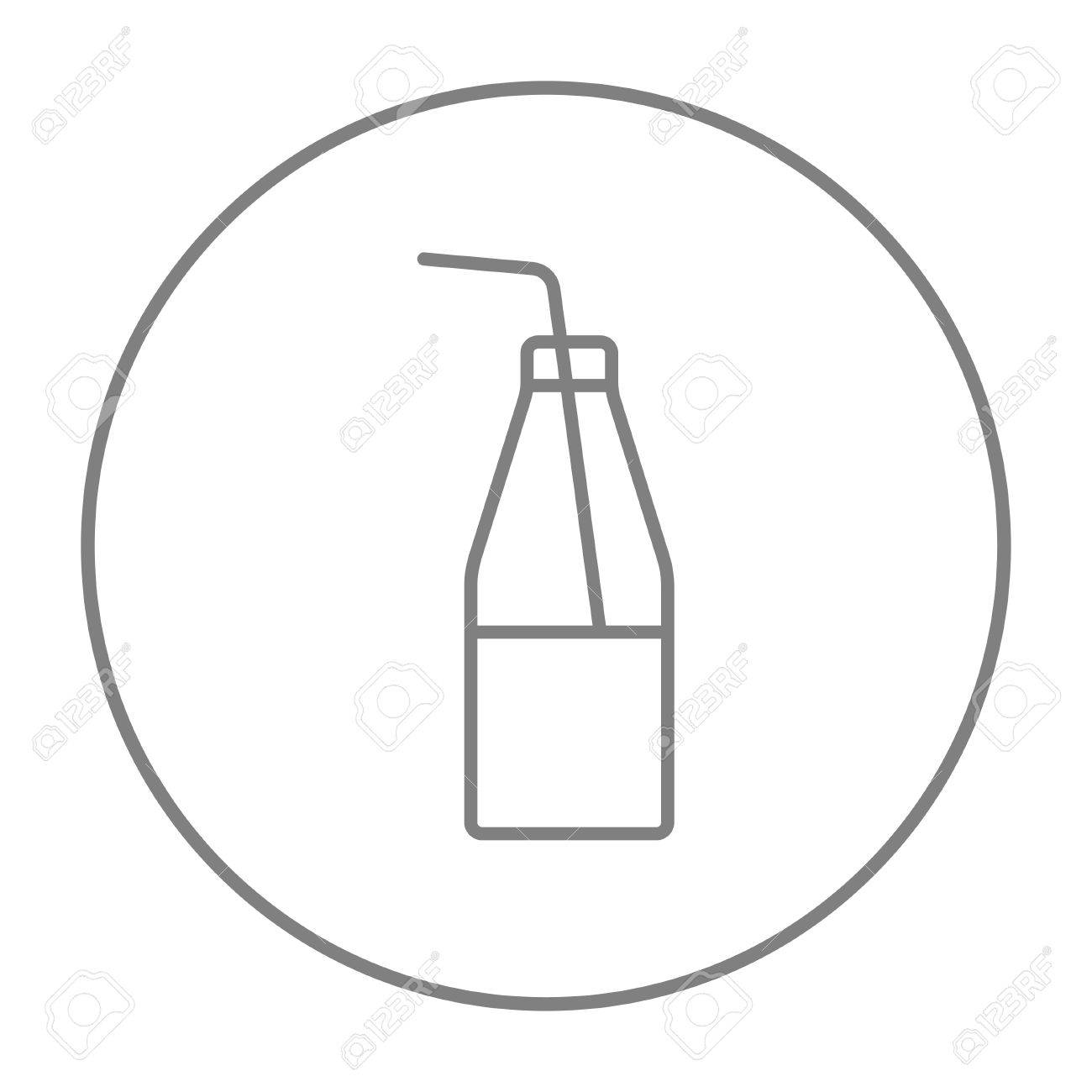 hight resolution of glass bottle with drinking straw line icon for web mobile and infographics vector grey