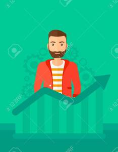 hipster man with the beard standing behind growing chart on green background cogwheels also rh rf