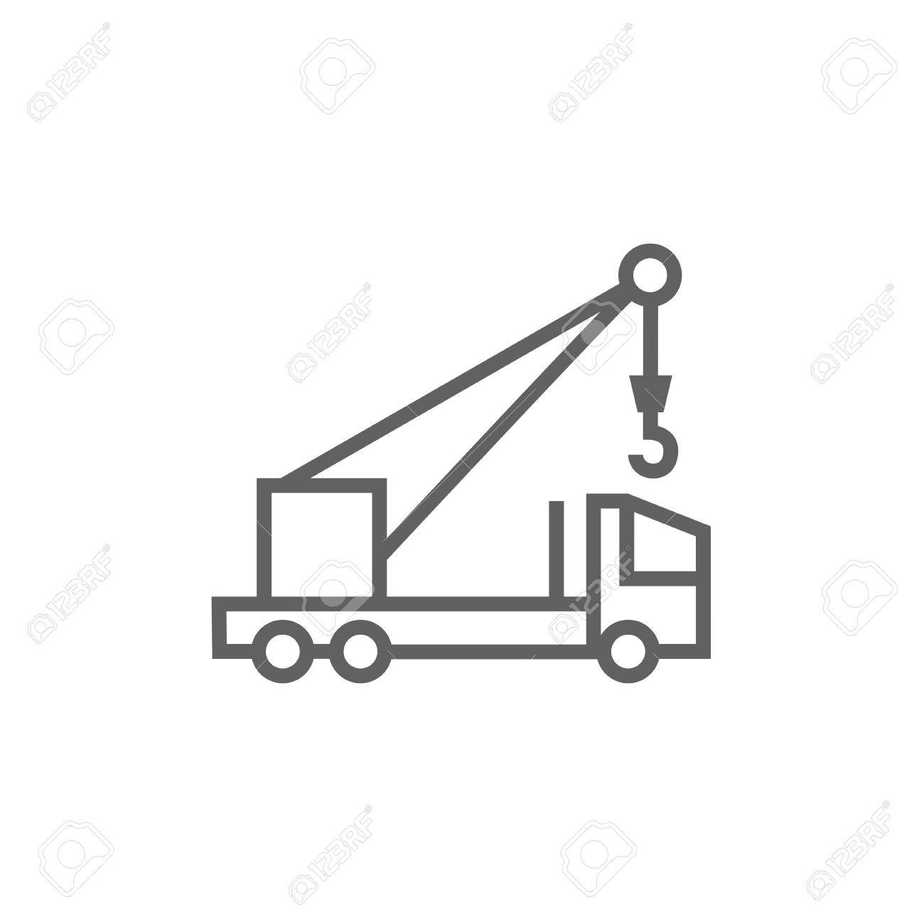 hight resolution of mobile crane thick line icon with pointed corners and edges for web mobile and infographics