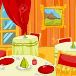 Hand Drawn Cartoon Of Luxury Restaurant Interior Colourful Cartoon Stock Photo Picture And Royalty Free Image Image 65118796