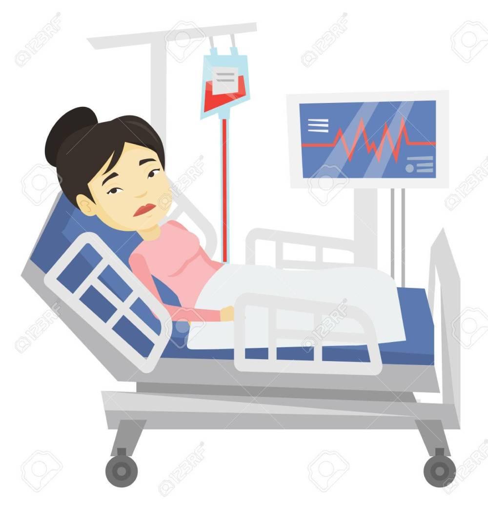 medium resolution of vector woman lying in hospital bed vector illustration