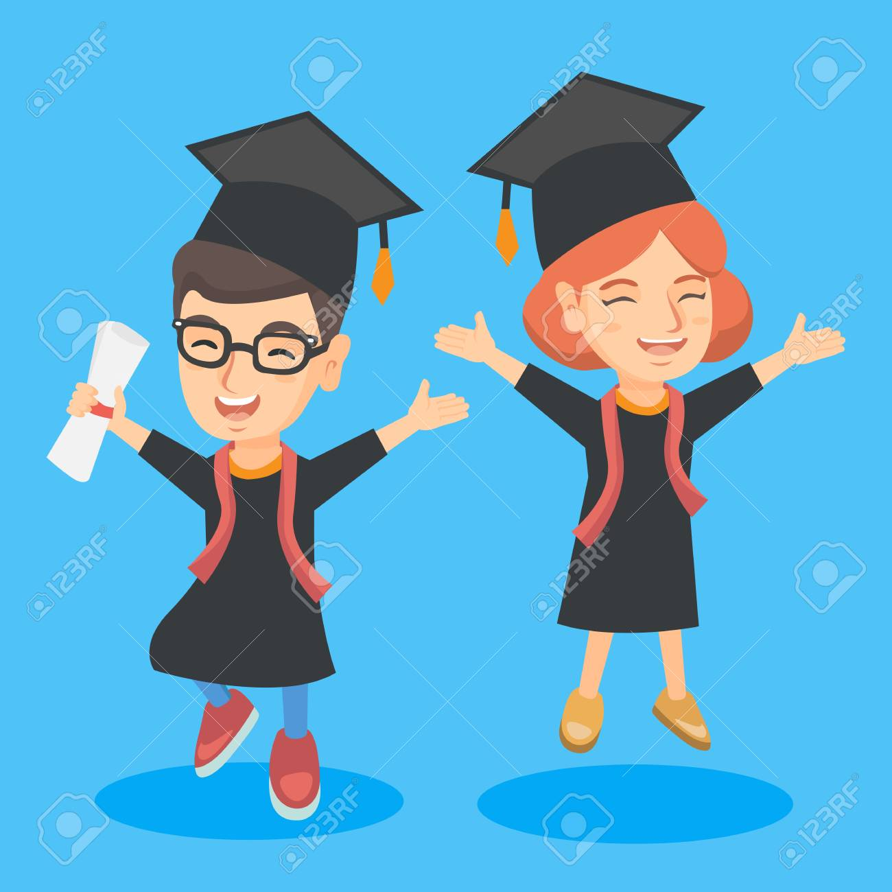 caucasian graduation kids with