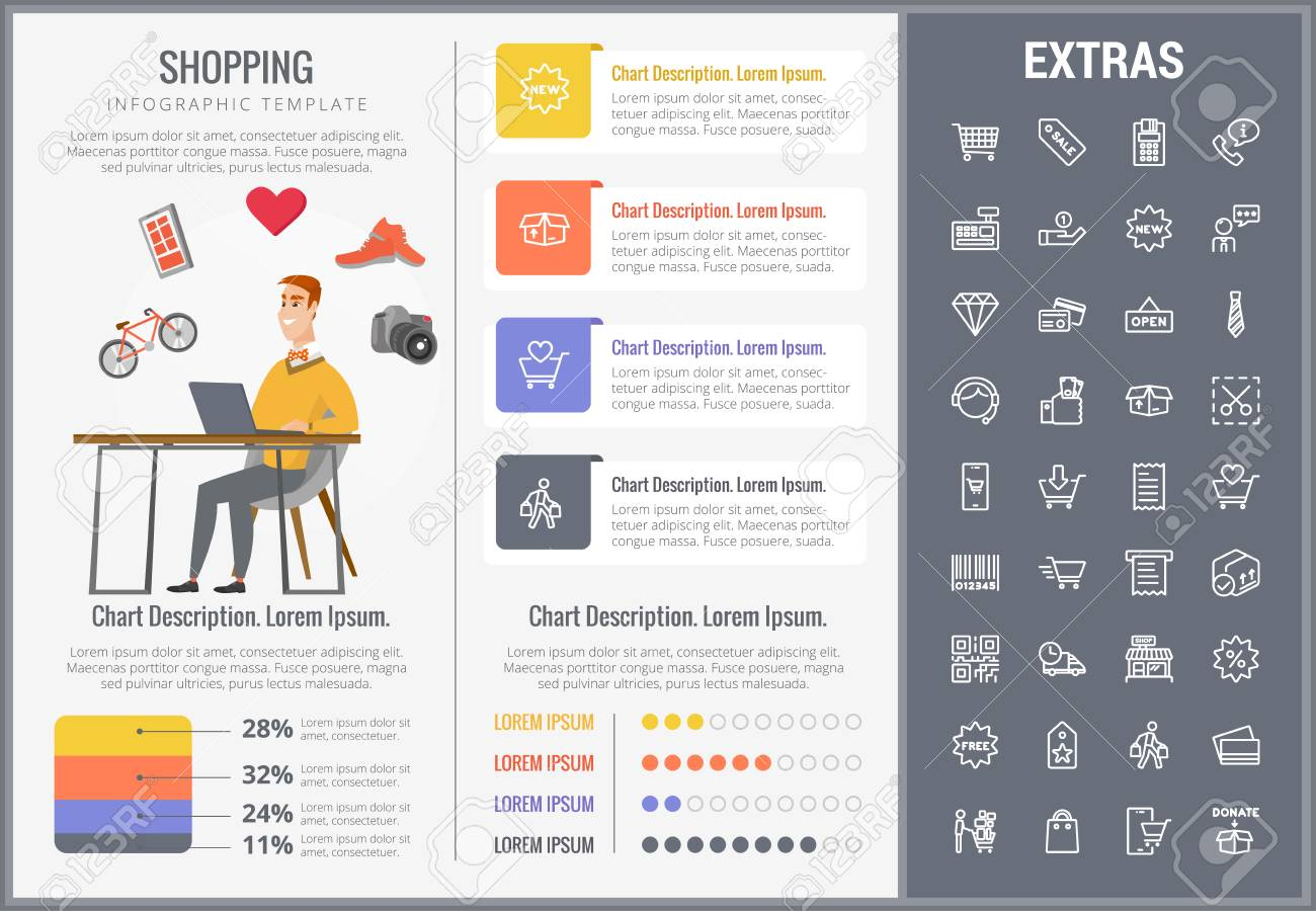 Shopping Infographic Template, Elements And Icons. Infograph Includes  Customizable Graphs, Charts, Line