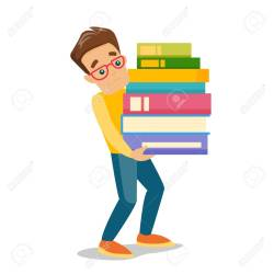 Young Caucasian White Tired College Student Carrying A Heavy Royalty Free Cliparts Vectors And Stock Illustration Image 104540970