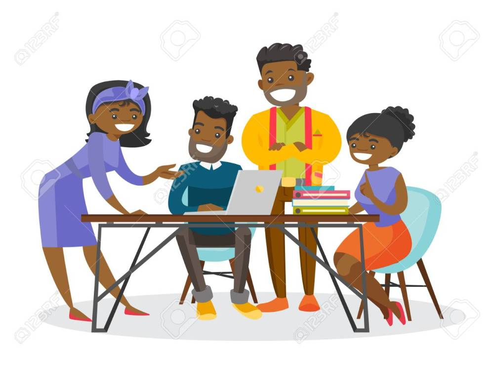medium resolution of group of young african american business people working together on project during a meeting in