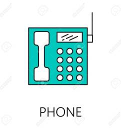 phone line icon vector symbol on the topic of home electronic devices color minimalist [ 1300 x 1300 Pixel ]