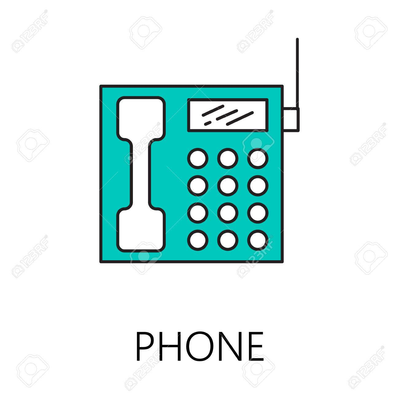 hight resolution of phone line icon vector symbol on the topic of home electronic devices color minimalist