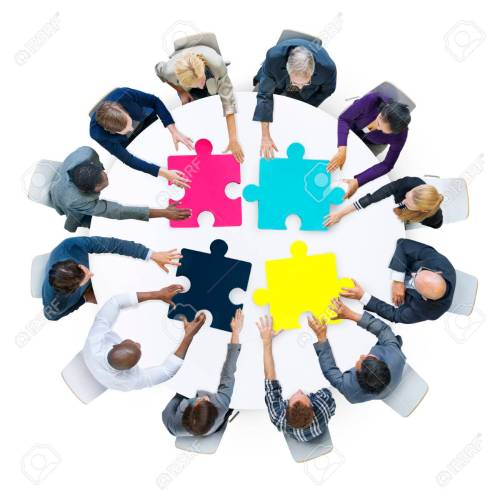 small resolution of business people connection corporate jigsaw puzzle concept