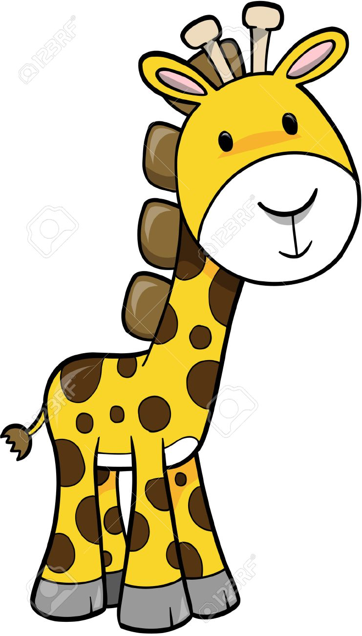 hight resolution of safari giraffe vector illustration stock vector 2019442