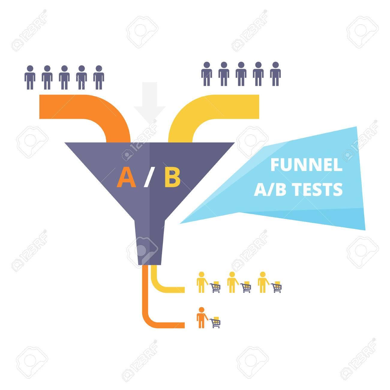 hight resolution of funnel ab test vector illustration sales funnel optimization work testing in internet marketing
