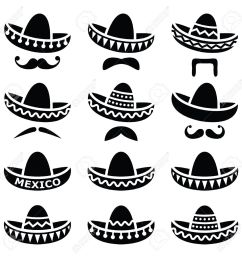 mexican sombrero hat with moustache or mustache icons stock vector 33491439 [ 1300 x 1300 Pixel ]