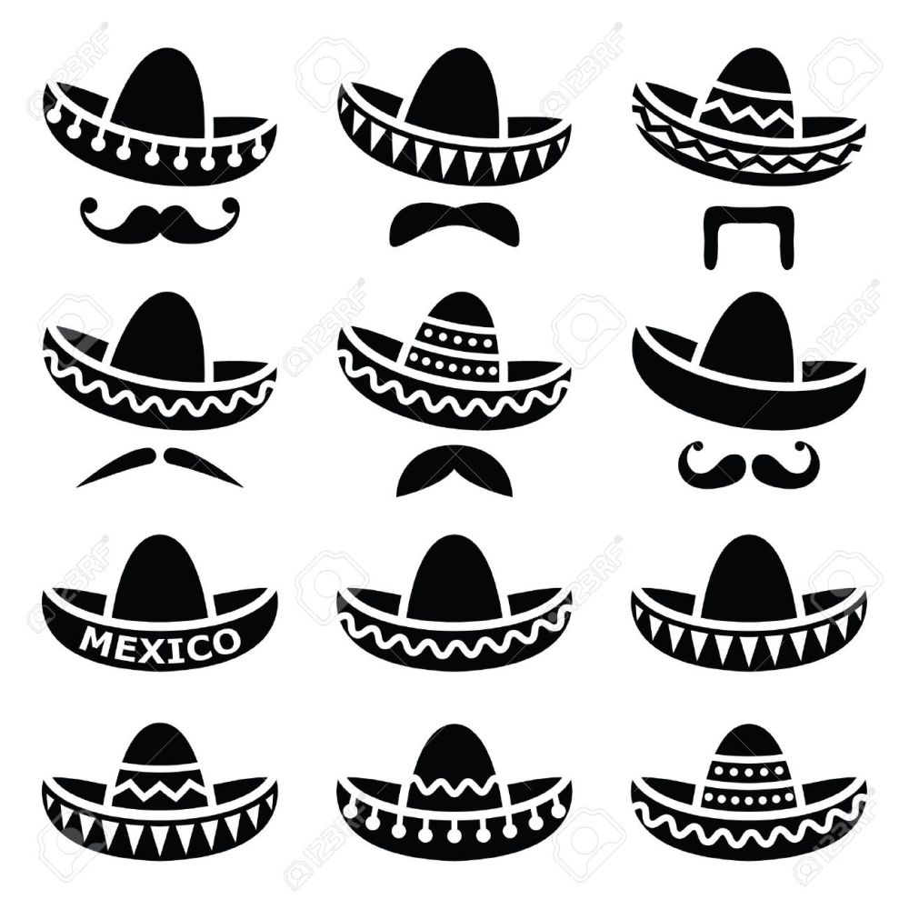medium resolution of mexican sombrero hat with moustache or mustache icons stock vector 33491439