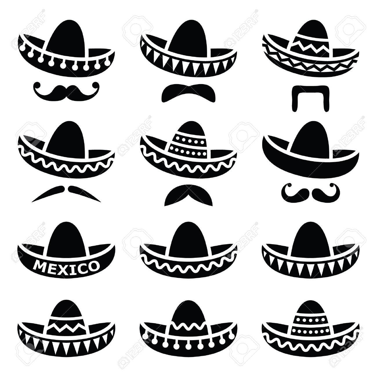 hight resolution of mexican sombrero hat with moustache or mustache icons stock vector 33491439