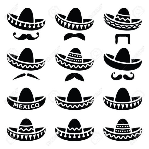 small resolution of mexican sombrero hat with moustache or mustache icons stock vector 33491439