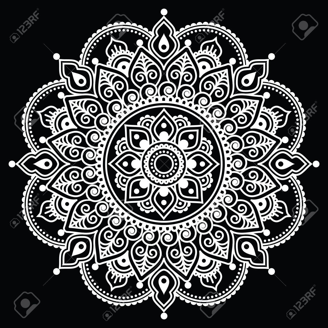 Mehndi Indio De La Alheña Tatuaje Patrón De Blanco Sobre Fondo
