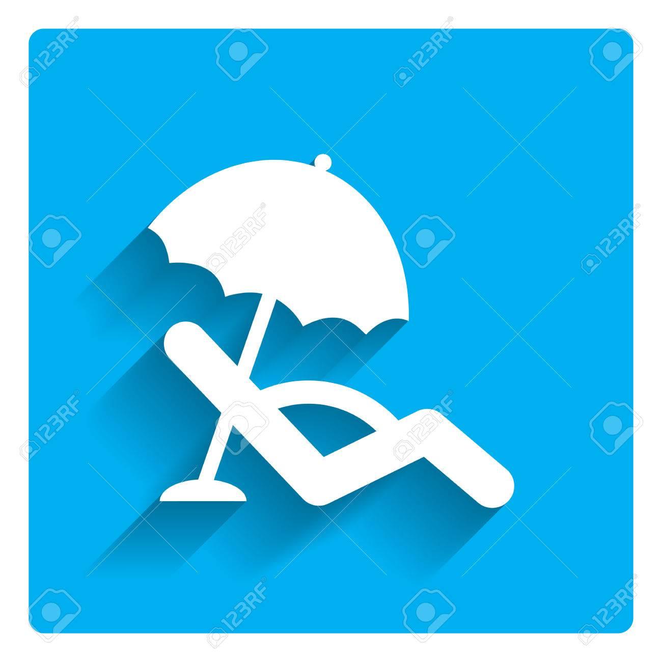 banque d images icone de lit de bronzage avec parasol