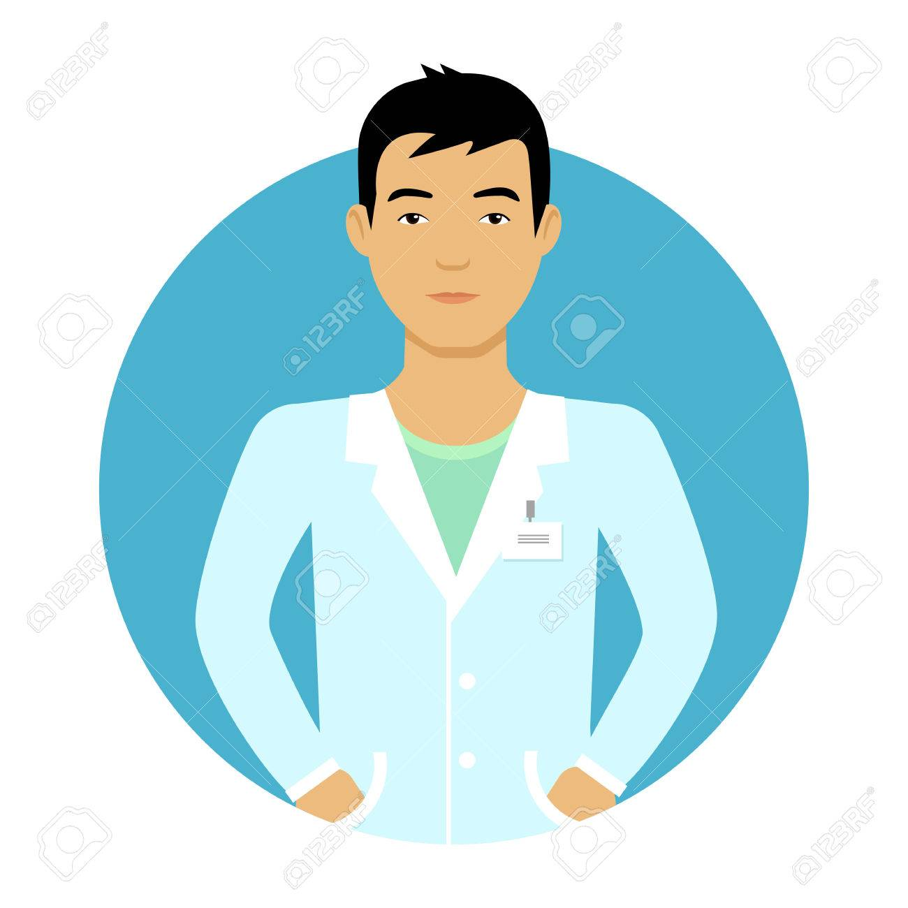 hight resolution of male character portrait of young asian nurse man stock vector 44542888