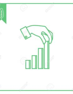 Icon of man hand putting last element bar chart stock vector also royalty free rh rf