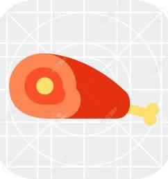 vector vector icon of ham piece with bone [ 1300 x 1300 Pixel ]