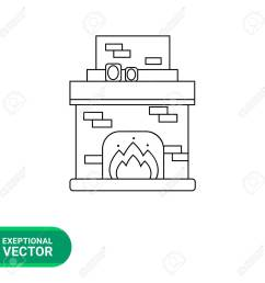 monochrome vector icon of brick fireplace with chimney burning fire and photo frames on it [ 1300 x 1300 Pixel ]