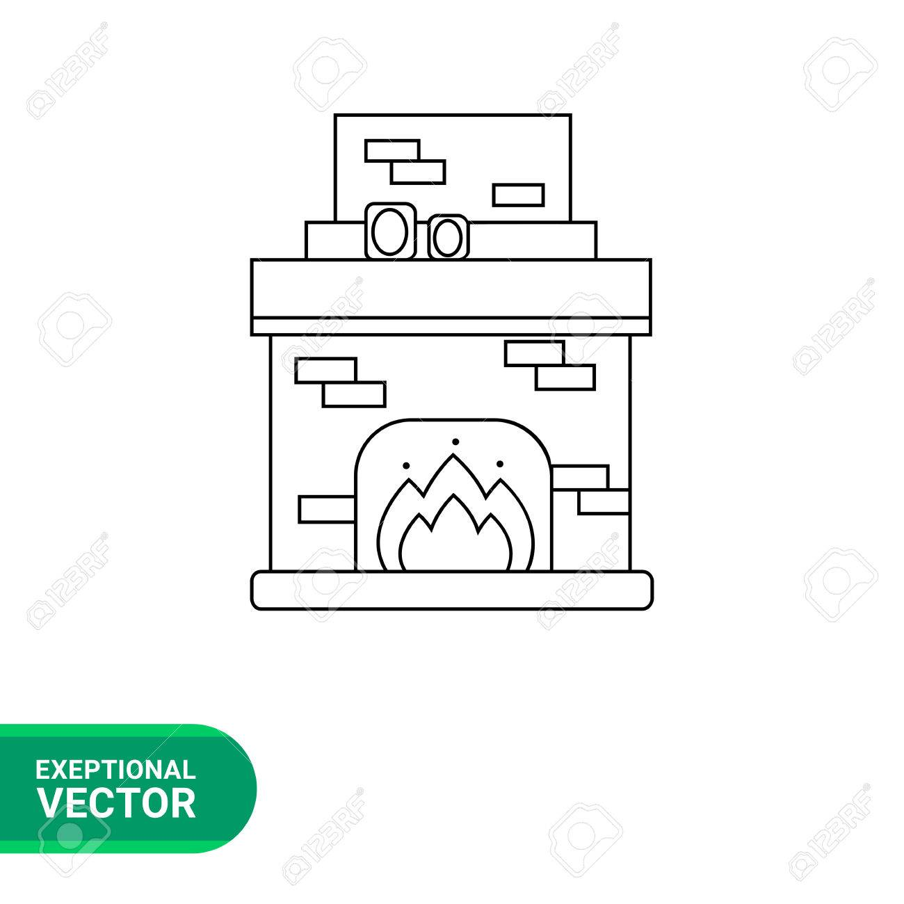 hight resolution of monochrome vector icon of brick fireplace with chimney burning fire and photo frames on it