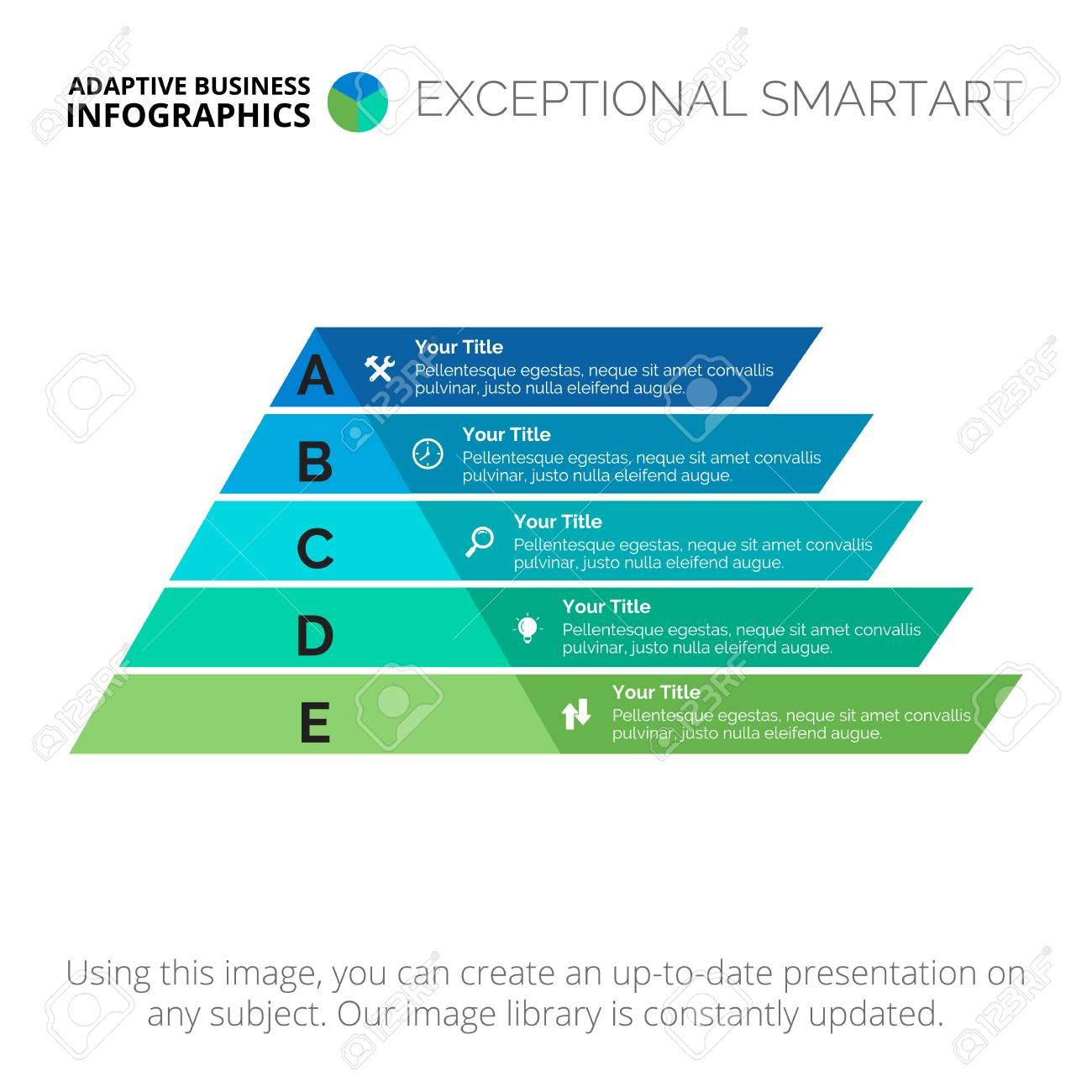 hight resolution of five stages pyramid diagram element of presentation step diagram chart concept for