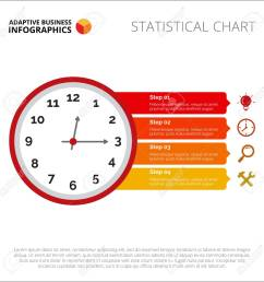 clock infographic element of presentation step diagram chart concept for templates  [ 1300 x 1300 Pixel ]