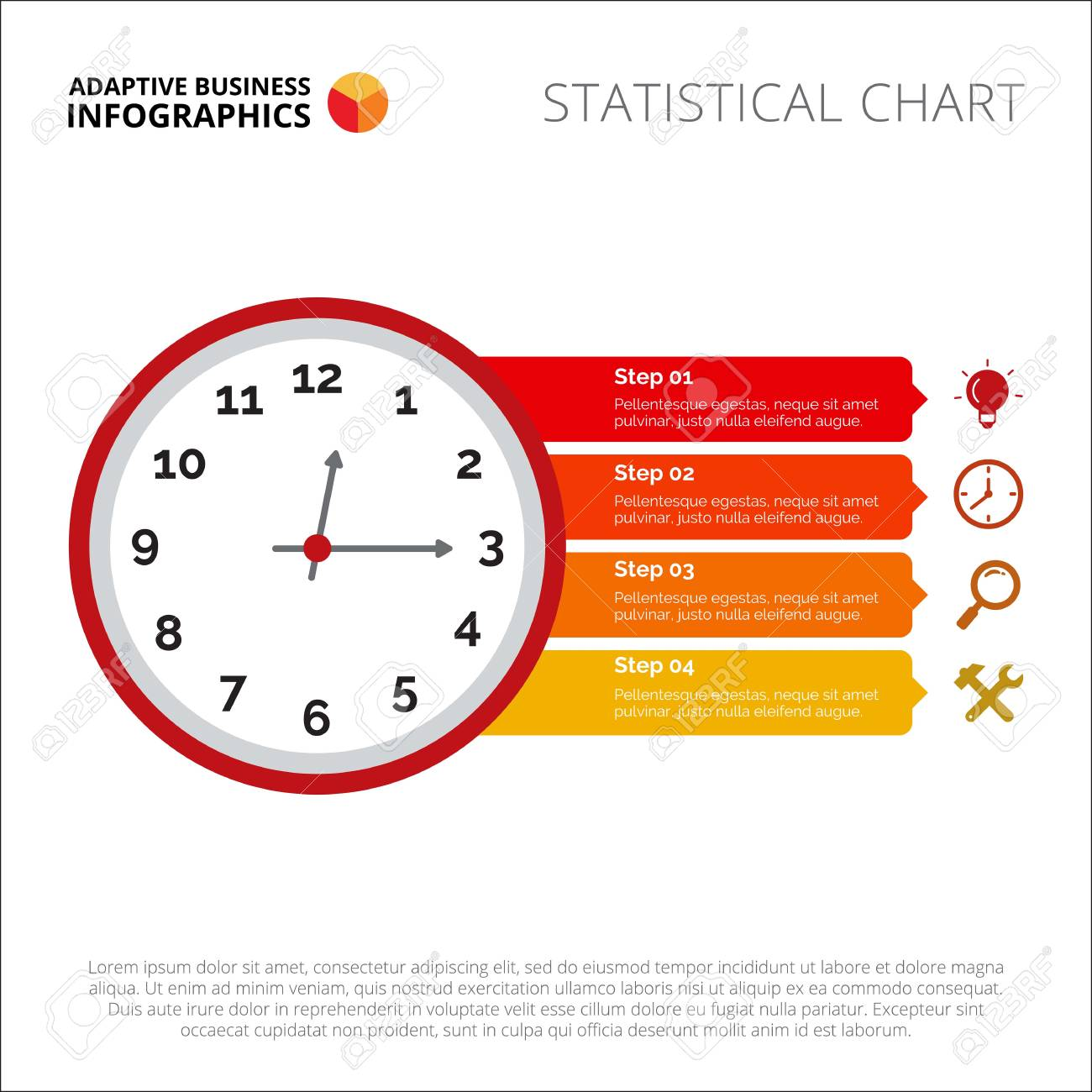 hight resolution of clock infographic element of presentation step diagram chart concept for templates