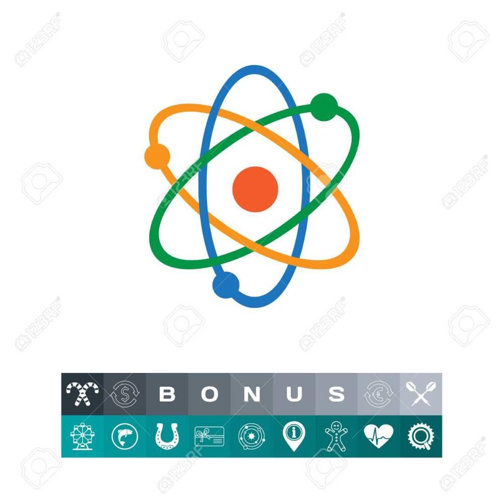 medium resolution of atom model icon in a colorful design illustration stock vector 83443165