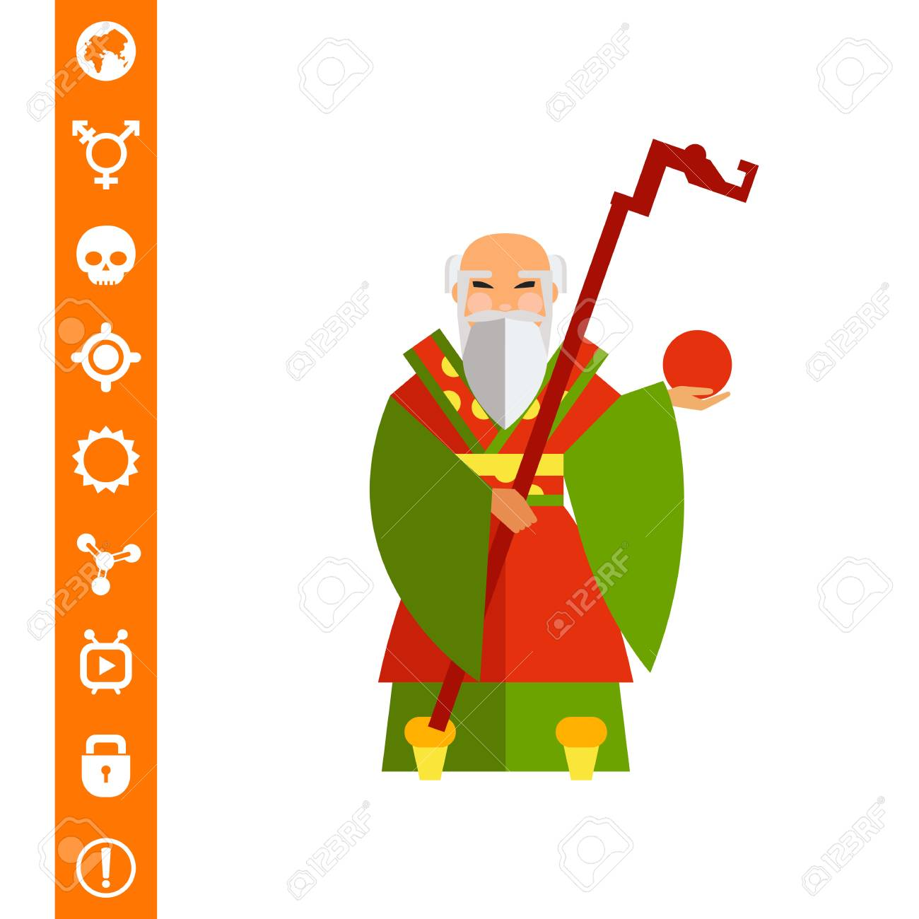 hight resolution of chinese old wise man icon stock vector 84862831