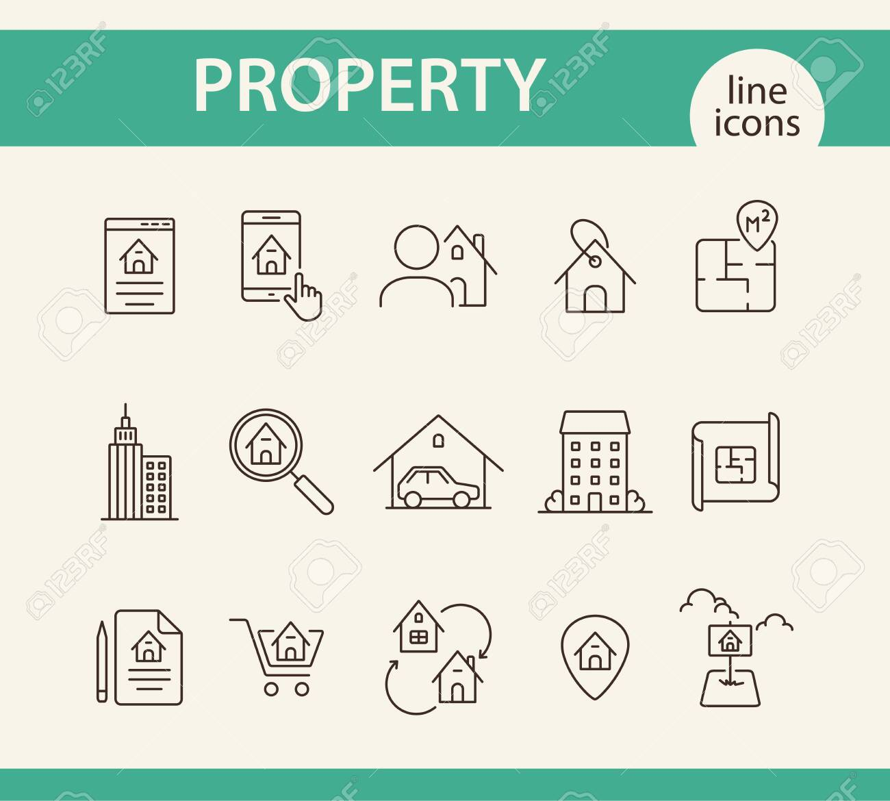 Property Line Icon Set House Garage Apartment Floor Plan Royalty Free Cliparts Vectors And Stock Illustration Image 120288231