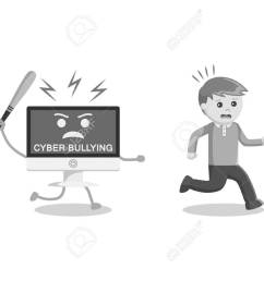 black and white man run away from cyber bullying black and white style stock vector  [ 1300 x 975 Pixel ]