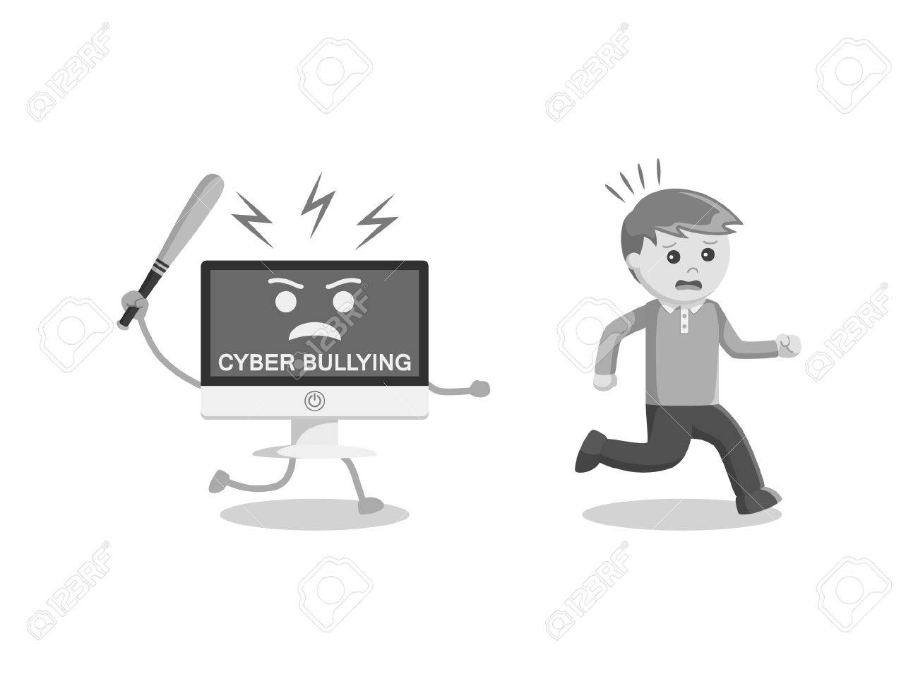 hight resolution of black and white man run away from cyber bullying black and white style stock vector