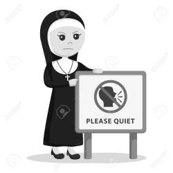 Nun Beside Please Quiet Sign Black And White Style Royalty Free Cliparts Vectors And Stock Illustration Image 95590991