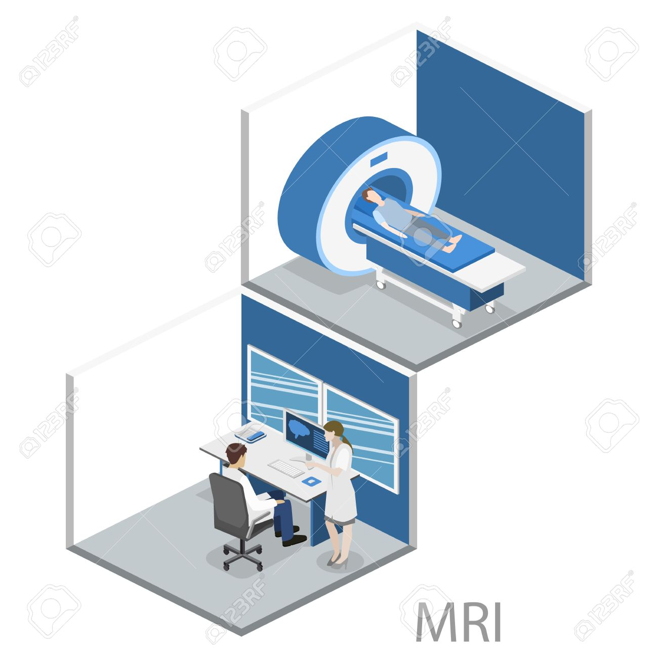 hight resolution of isometric flat 3d concept vector hospital medical mri web illustration nuclear magnetic resonance imaging tomography