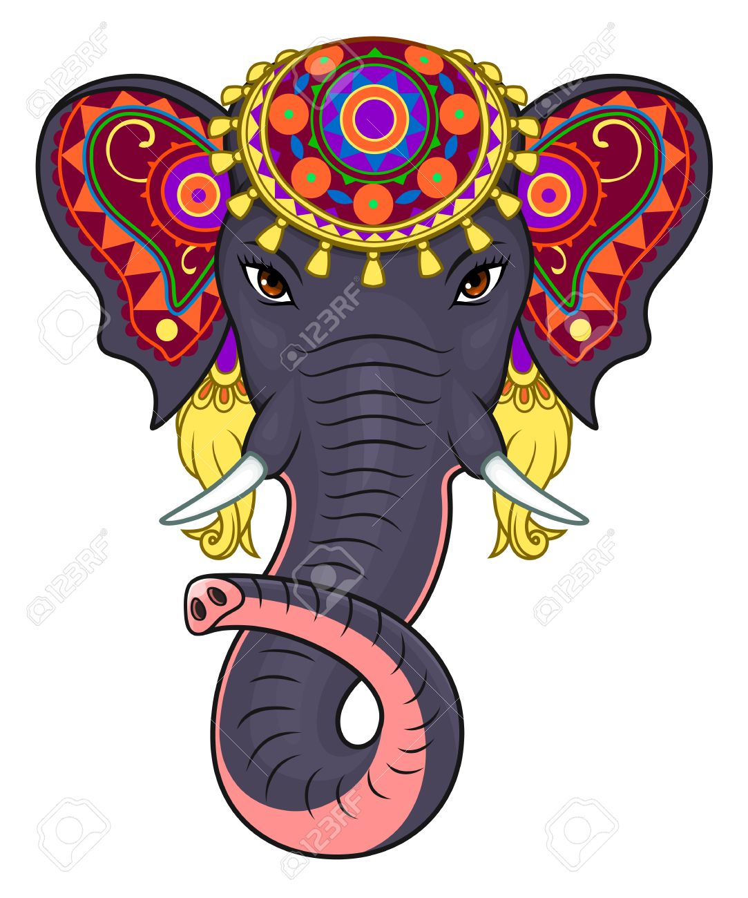 Indian Elephant Clipart : indian, elephant, clipart, Indian, Elephant, Royalty, Cliparts,, Vectors,, Stock, Illustration., Image, 57639690.