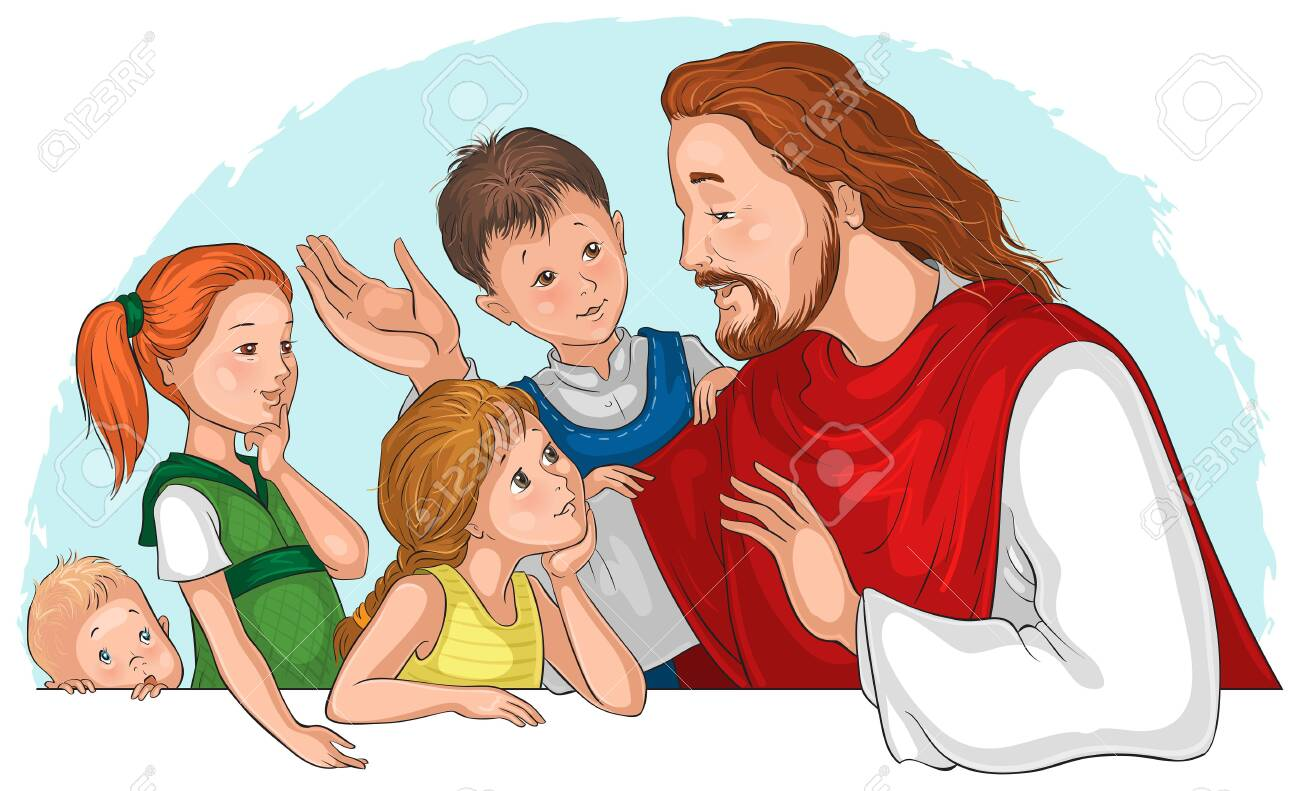 Jesus Christ Talking To Children Vector Cartoon Illustration Royalty Free Cliparts Vectors And Stock Illustration Image 144872163