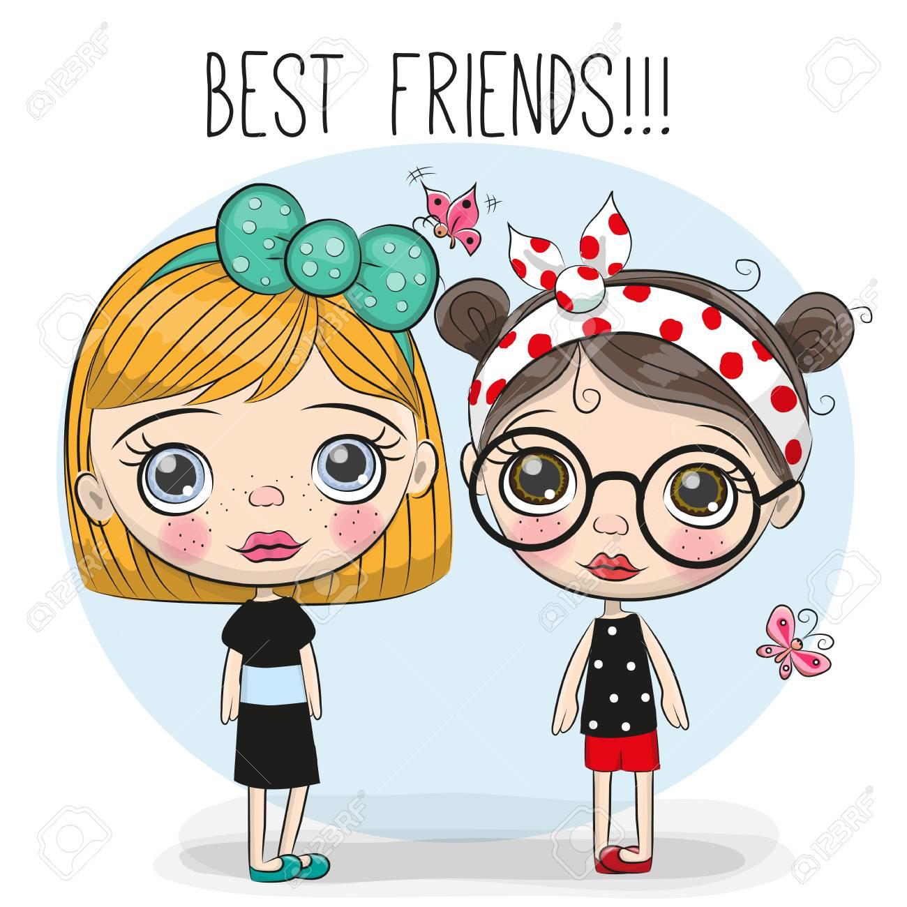 two friends cute cartoon