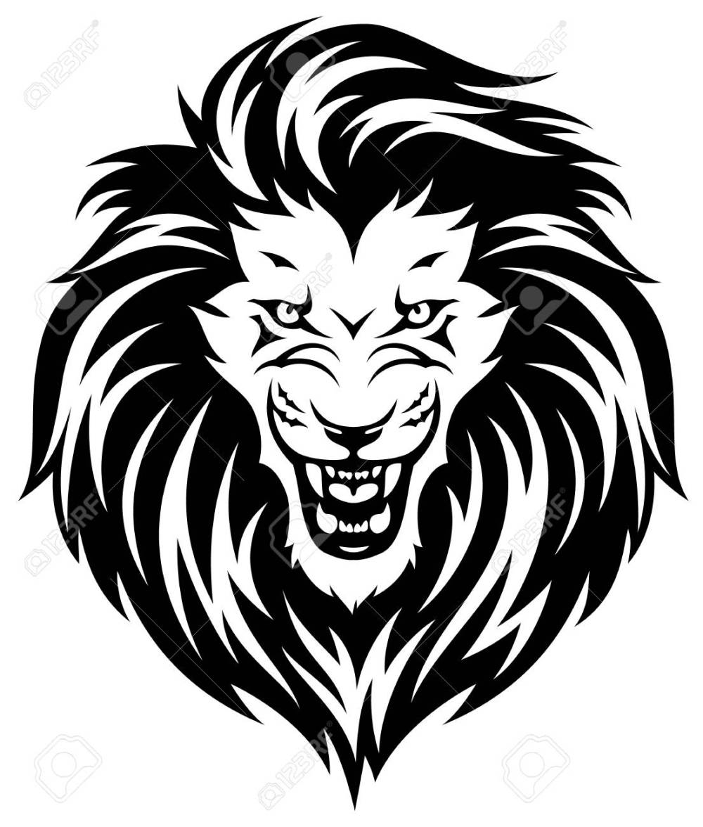 medium resolution of head of roaring lion black illustration isolated on white background stock vector 93411634