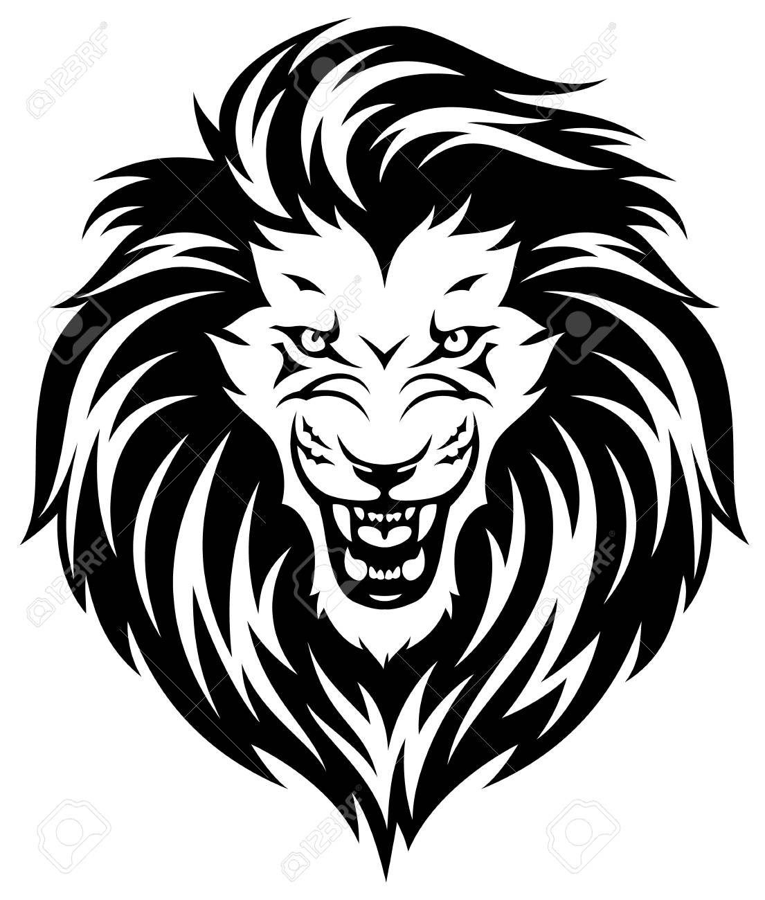 hight resolution of head of roaring lion black illustration isolated on white background stock vector 93411634