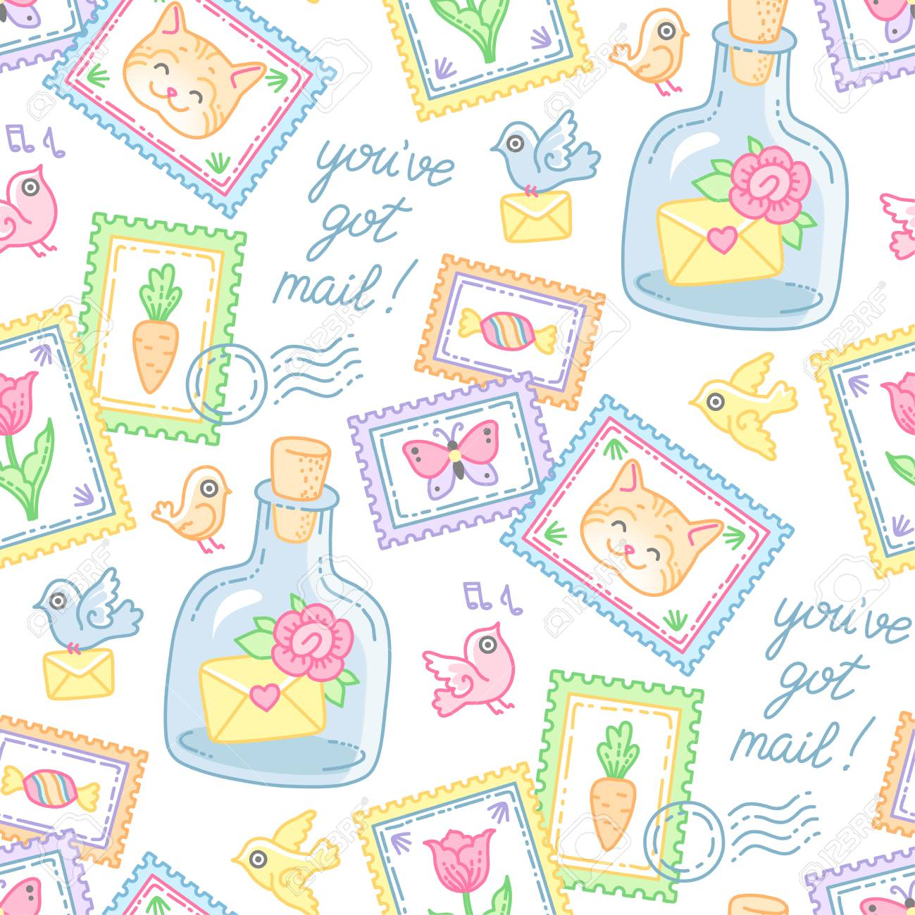 cute stamps envelopes and