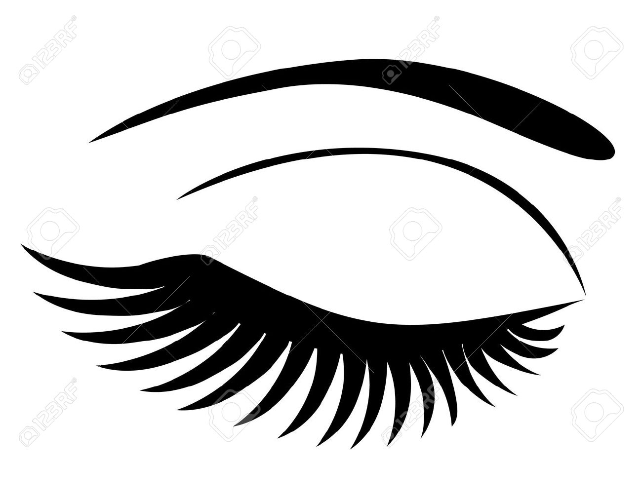 Eye Closed With Long Lashes Royalty Free Cliparts, Vectors, And
