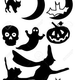 vector vector illustration of halloween clip art images in silhouette  [ 918 x 1300 Pixel ]